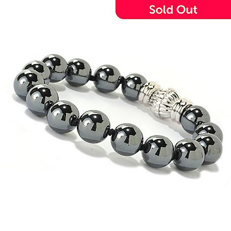 126-673 - Gem Treasures Sterling Silver 8'' Hematite Bead Bracelet w/ Magnetic Clasp