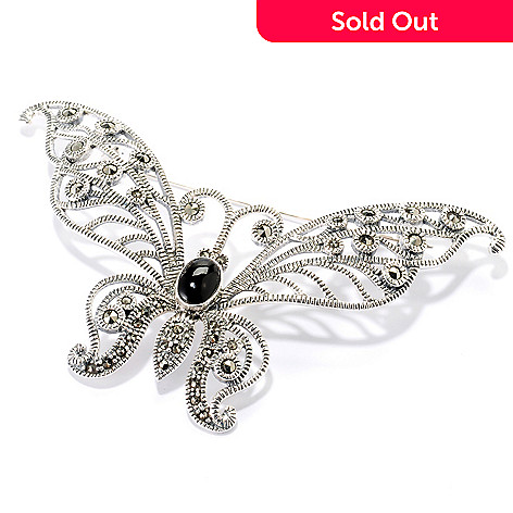 126-674 - Gem Treasures Sterling Silver Black Agate & Marcasite Butterfly Pin