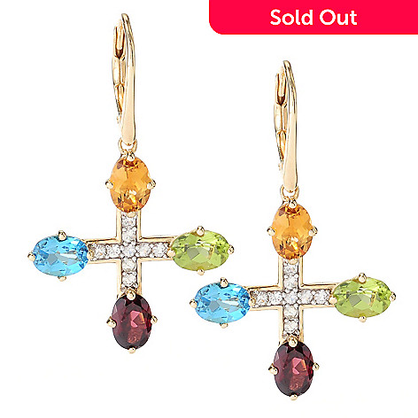 126-680 - Omar Torres 5.90ctw White Sapphire & Multi Gemstone ''Malta'' Earrings
