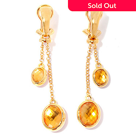 126-681 - Omar Torres 7.65ctw Carnelian & Citrine Dangle Earrings