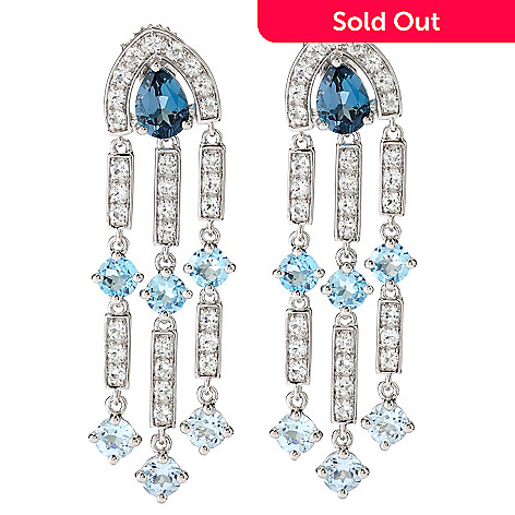 126-682 - Omar Torres 8.12ctw White & Blue Topaz Chandelier Earrings