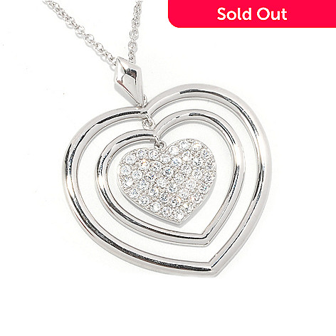 126-684 - Sonia Bitton 1.17 DEW Pave Set Simulated Diamond Heart Pendant w/ 18'' Chain