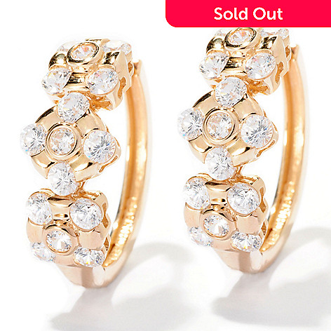 126-690 - Sonia Bitton for Brilliante® 2.94 DEW Burnished & Bezel Set Station Hoop Earrings
