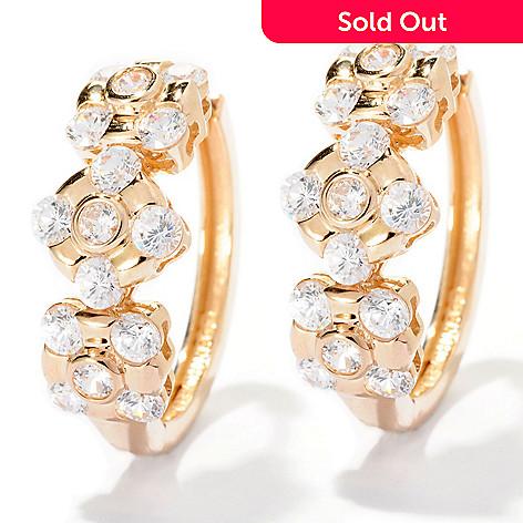 126-690 - Sonia Bitton for Brilliante® 2.94 DEW Burnished & Bezel Set Station Hoop Earrings
