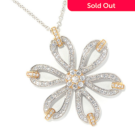 126-691 - Sonia Bitton Two-tone 2.20 DEW Simulated Diamond Flower Pendant w/ 18'' Chain