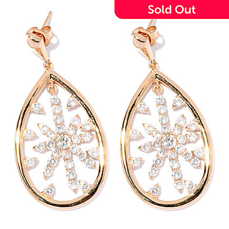 126-692 - Sonia Bitton Gold Embraced™ 2.74 DEW Simulated Diamond Star Teardrop Earrings