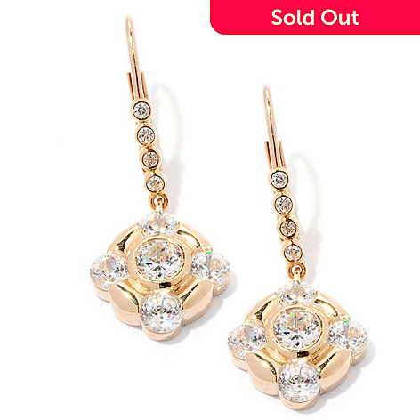 126-694 - Sonia Bitton 2.52 DEW Round Cut Bezel Set Simulated Diamond Drop Earrings