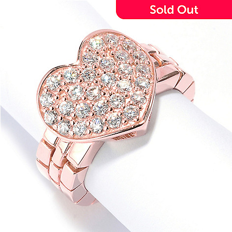 126-698 - Sonia Bitton Polished Pave Set Simulated Diamond Heart Dream Fit™ Ring