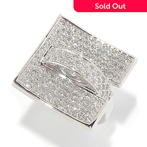 126-699 - Sonia Bitton Platinum Embraced™ 1.46 DEW Simulated Diamond Abstract Square Ring