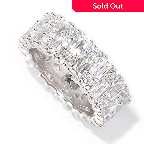 126-709 - TYCOON 5.78 DEW Prong Set Rectangle & Round Simulated Diamond Eternity Band Ring