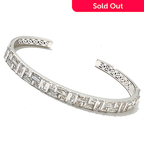 126-714 - TYCOON Platinum Embraced™ 9.97 DEW Simulated Diamond Hinged Cuff Bracelet