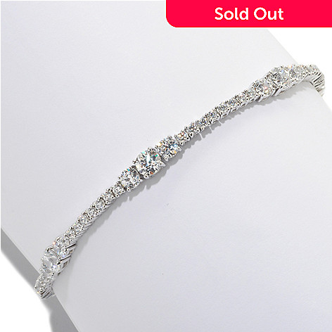126-716 - TYCOON Platinum Embraced™ Simulated Diamond Three-Stone Tennis Bracelet