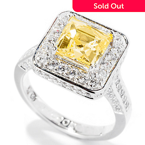 126-725 - TYCOON for Brilliante® Platinum Embraced™ 3.54 DEW Canary Square Cut Ring