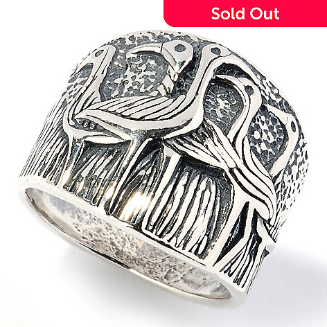 126-741 - Passage to Israel Sterling Silver Bird or Flower Band Ring