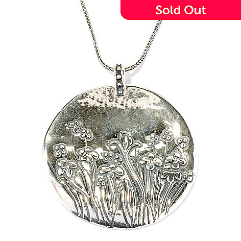 126-744 - Passage to Israel Sterling Silver ''Field of Flowers'' Circle Pendant w/ 18'' Wheat Chain