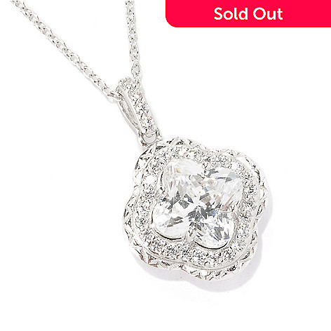126-759 -  Brilliante® Platinum Embraced™ 3.82 DEW Simulated Diamond Flower Cut Pendant