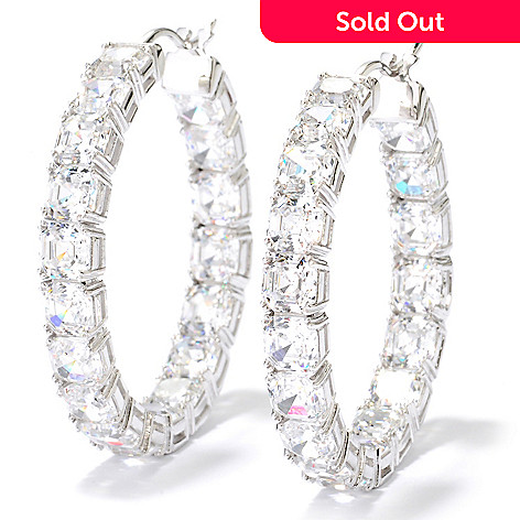 126-768 - Brilliante® 25.56 DEW Asscher Simulated Diamond Inside-out Hoop Earrings