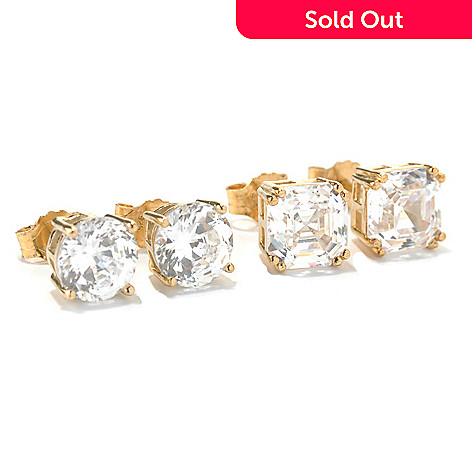 126-771 - Brilliante® Set of Two Asscher Simulated Diamond Stud Earrings