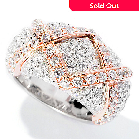 126-775 - Sonia Bitton 2.25 DEW Two-tone Pave Set Simulated Diamond ''X'' Band Ring