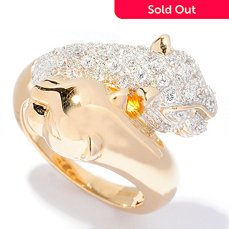 126-802 - Sonia Bitton for Brilliante® Polished Pave Set Double Panther Bypass Ring