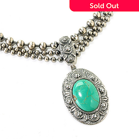 126-804 - Gem Insider™ Sterling Silver 14.5'' Oval Gleeson Turquoise Necklace