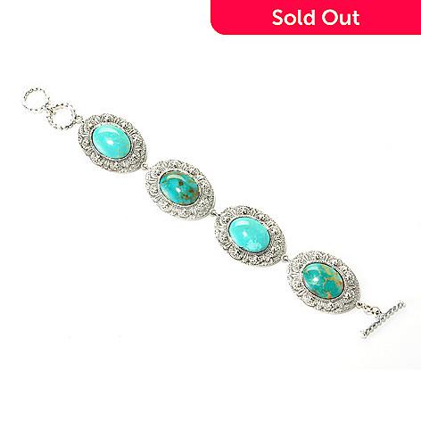 126-808 - Gem Insider Sterling Silver 7.5'' Oval Gleeson Turquoise Bracelet