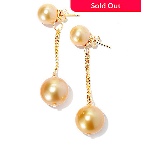 126-809 - 9-10mm & 12-12.5mm Golden South Sea Cultured Pearl Stud & Dangle Earrings