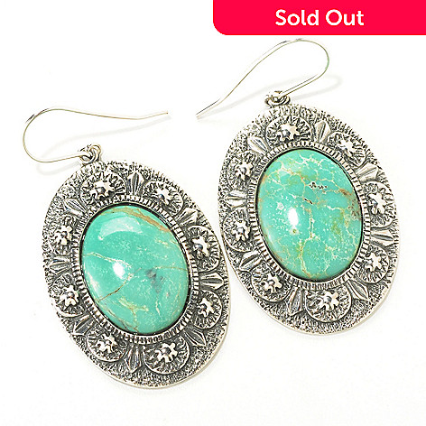 126-811 - Gem Insider™ Sterling Silver 15 x 20mm Oval Gleeson Turquoise Earrings
