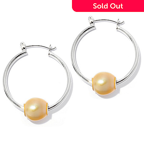 126-812 - Sterling Silver 9-10mm Oval Cultured Pearl 1.25'' Hoop Earrings