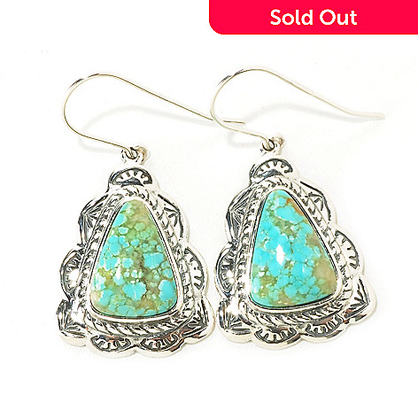 126-814 - Gem Insider® Sterling Silver 11 x 15mm Trillion Shaped Turquoise Earrings