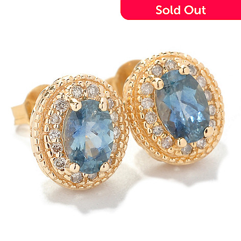 126-821 - The Vault from Gems en Vogue 14K Gold 1.46ctw Sapphire & Diamond Earrings