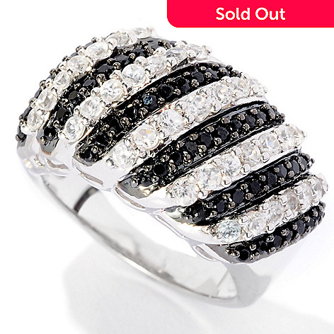 126-838 - Gem Treasures Sterling Silver 2.17ctw Black Spinel & Zircon Striped Ring