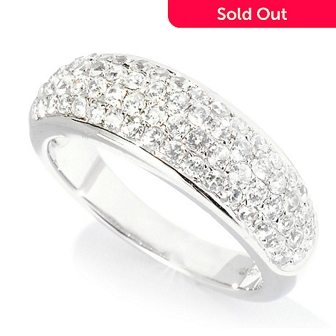 126-839 - Gem Treasures® Sterling Silver 1.13ctw Zircon Pave Dome Ring