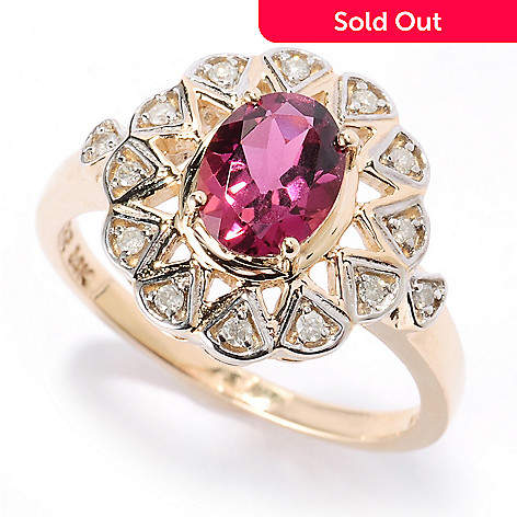 126-842 - Gem Treasures 14K Gold 1.55ctw Oval Pink Tourmaline & Diamond Ring