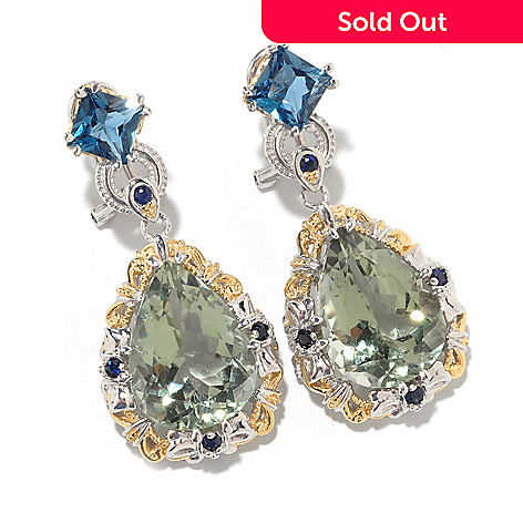 126-843 - Gems en Vogue II 16 x 11.5mm Green Praseolite & London Blue Topaz Drop Earrings