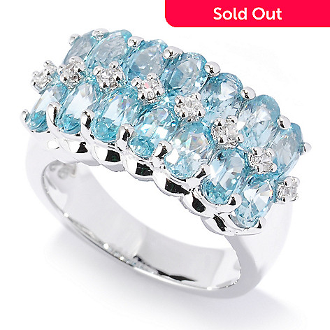 126-844 - NYC II® 5.53ctw Blue Zircon & White Zircon Band Ring