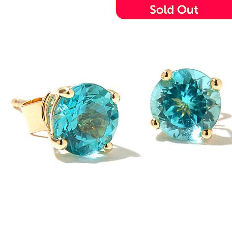 126-845 - Gem Treasures® 14K Gold 6mm Round Apatite Stud Earrings