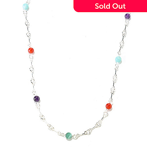 126-853 - SempreSilver™ 24'' Multi-Gemstone Station Necklace
