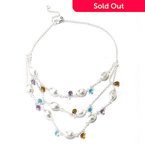126-854 - SempreSilver™ 16'' Three Strand Multi Gem & Satin Nugget Station Necklace