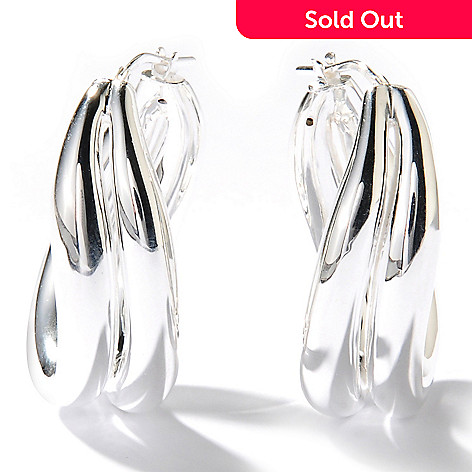 126-855 - SempreSilver™ Electroform Polished Crossover Hoop Earrings