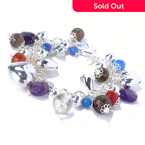126-860 - SempreSilver® Multi-Gemstone Dangle Charm Bracelet