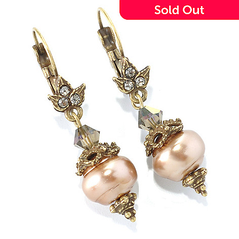 126-881 - Sweet Romance™ Glass & Cryst Baroque-Inspired Drop Earrings