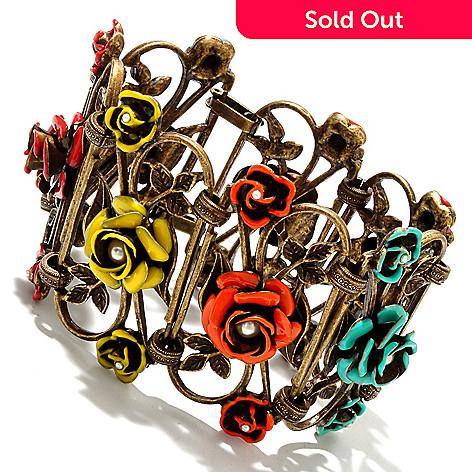 126-887 - Sweet Romance 7.5'' RetroMex Aztec Roses Panel Bracelet