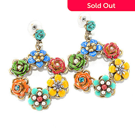 126-888 - Sweet Romance RetroMex Aztec Flowers Dangle Earrings