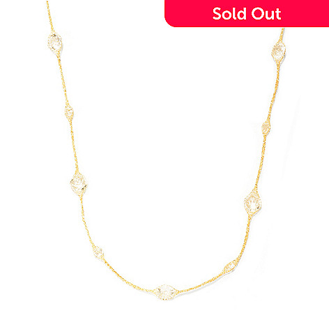 126-906 - Italian Designs with Stefano 14K Gold 36'' Rock Crystal Necklace