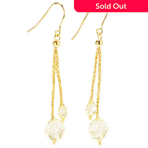 126-907 - Italian Designs with Stefano 14K Gold 5.06ctw Rock Crystal Drop Earrings