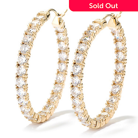 126-911 - Brilliante® 8.50 DEW 100-Facet Round Simulated Diamond Inside-Out Hoop Earrings