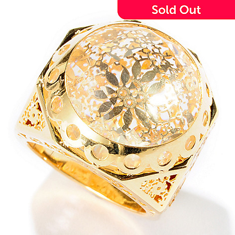 126-928 - Italian Designs with Stefano 14K Gold Rock Crystal Ricami Ring