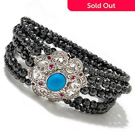 126-944 - Dallas Prince Sterling Silver 7.75'' Stabilized Sleeping Beauty Turquoise & Hematite Bracelet