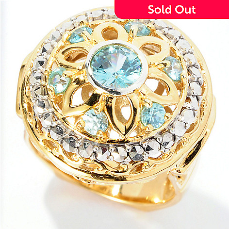 126-945 - Dallas Prince 2.03ctw Blue Zircon & Chrome Marcasite Flower Ring
